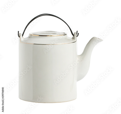 Fototapeta Vintage chinese teapot ceramic clay enamel crock (with clipping path) isolated on white background obraz