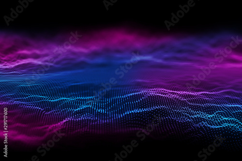 Abstract technology background. Particle Mist network Cyber security - 291717600