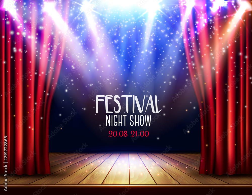 Fototapeta A theater stage with a red curtain and a spotlight. Festival night show background. Vector.
