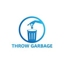 Trow Garbage Logo Template Design