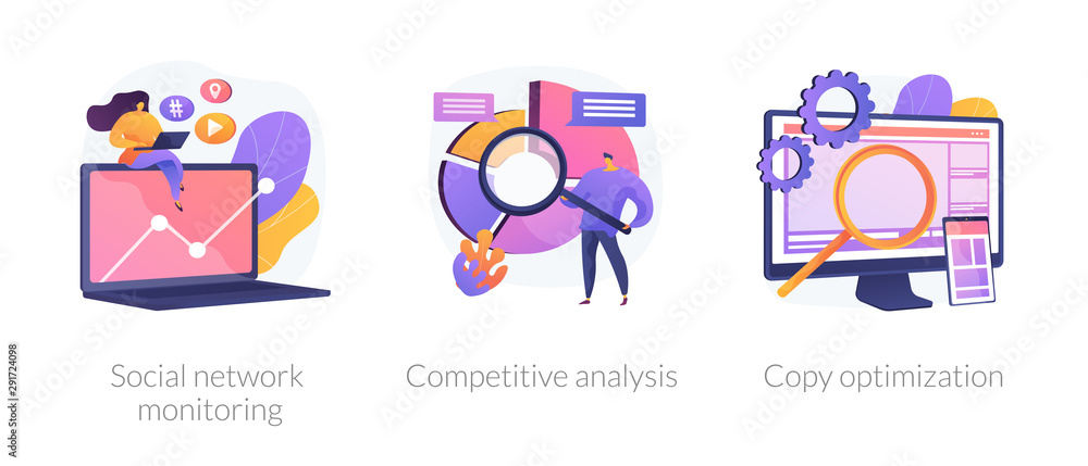 Obraz Internet advertisement analytics icons set. SEO solutions search. Social network monitoring, competitive analysis, copy optimization metaphors. Vector isolated concept metaphor illustrations. fototapeta, plakat