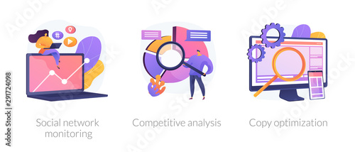 Fototapeta Internet advertisement analytics icons set. SEO solutions search. Social network monitoring, competitive analysis, copy optimization metaphors. Vector isolated concept metaphor illustrations. obraz