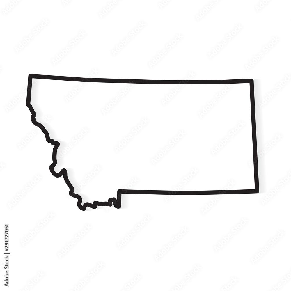 Fototapeta black outline of Montana map- vector illustration