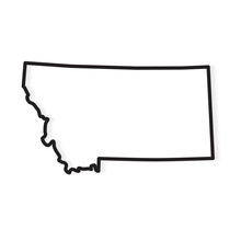 Black Outline Of Montana Map- ...