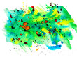Leinwandbild Motiv Abstract multicolored blue-yellow-red paint stain on a white background
