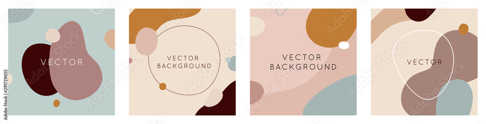 Fototapety, obrazy: Vector set of abstract creative backgrounds in minimal trendy style with copy space for text - design templates for social media stories and posts