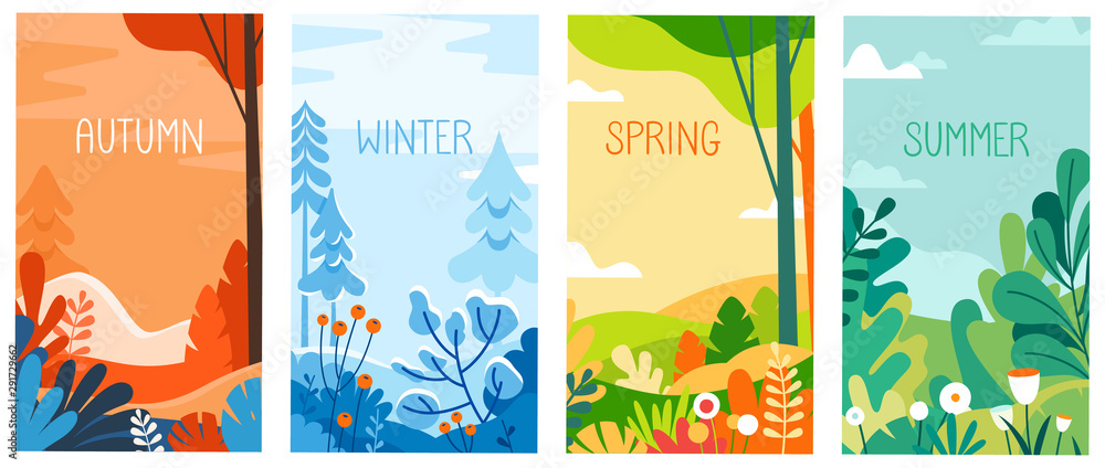 Fototapety, obrazy: Seasonal vertical banners for social media stories wallpaper - autumn, winter, spring and summer landscapes