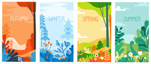 Seasonal Vertical Banners For Social Media Stories Wallpaper - Autumn, Winter, Spring And Summer Landscapes