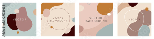 Vector set of abstract creative backgrounds in minimal trendy style with copy space for text - design templates for social media stories and posts - 291729635