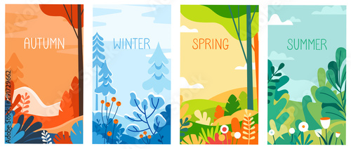 Seasonal vertical banners for social media stories wallpaper - autumn, winter, s Fototapeta