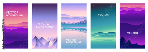 Fototapeta Vector set of abstract backgrounds with copy space for text and bright vibrant gradient colors - landscape with mountains and hills  - vertical banners and background for  social media stories, banner obraz