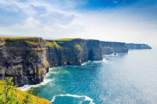 Spectacular Cliffs of Moher are sea cliffs located at the southwestern edge of the Burren region in County Clare, Ireland. Wild Atlantic way - 291730867