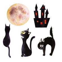 Set Of Cartoon Black Cats Sit...