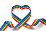 Fototapeta Tęcza - LGBT rainbow ribbon in the shape of heart. Pride tape symbol. Isolated on a white background