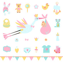 Icons Of Stork And Girl For Baby Shower. Set Of Simple Cartoon Elements For Birthday Card.