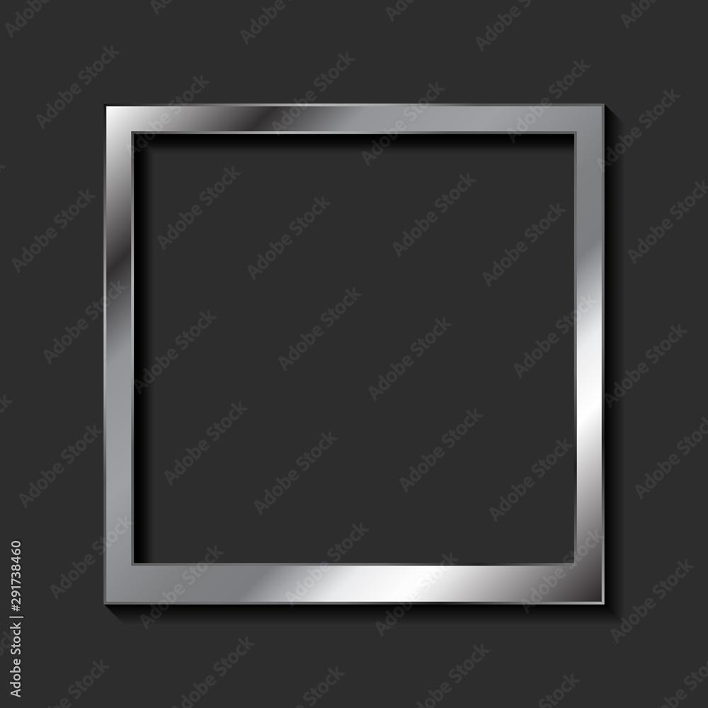 Fototapety, obrazy: Vintage realistic metallic blank instant photo frame. Abstract dark background with silver framework. Vector polaroid style imitation