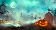 Leinwandbild Motiv Halloween pumpkins on the graveyard