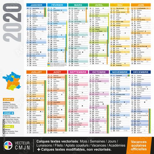 Fotografiet Calendrier français 2020 avec vacances scolaires officielles
