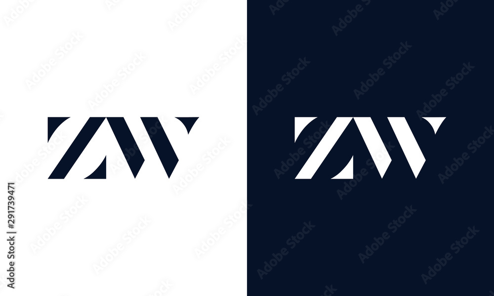 Fototapeta Minimalist abstract letter ZW logo. This logo icon incorporate with two abstract shape in the creative way.