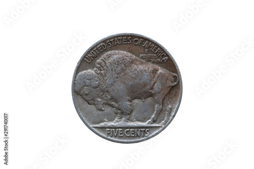 Tela  USA five cents Buffalo Indian Head nickel coin dated 1935 back (reverse) cut out