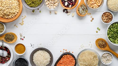 Cuadros en Lienzo Healthy cereals food theme background