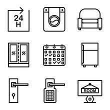 Hotel Icon Set Include Hotel, ...