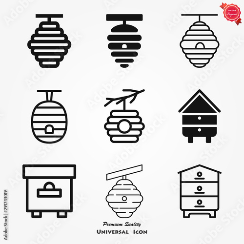Beehive vector icon. beehive sign on background. Wallpaper Mural