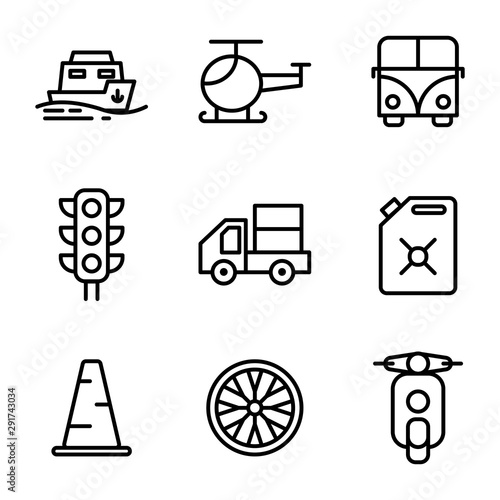 Fotografie, Obraz Transportation icon set include sea, transport, vehicle, ship, helicopter, fligh