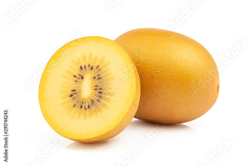 Gold kiwi fruit and slice half isolated on white background with clipping path - 291744243