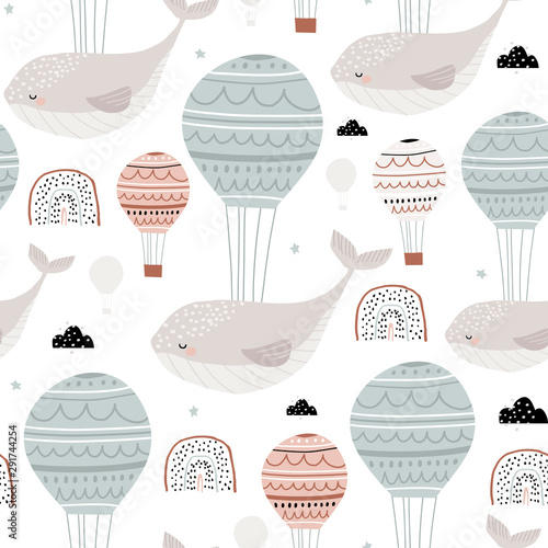 Seamless childish pattern with sleeping whales hot air balloons. Creative kids hand drawn texture for fabric, wrapping, textile, wallpaper, apparel. Vector illustration