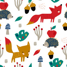 Seamless Autumn Pattern With Fox, Mushrooms And Hedgehog. Creative Autumn Texture For Fabric, Wrapping, Textile, Wallpaper, Apparel. Vector Illustration