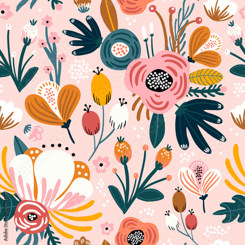 Seamless pattern with flowers, berries and leaves. Creative floral texture. Great for fabric, textile Vector Illustration - 291744417