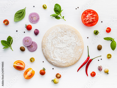 Obraz The ingredients for homemade pizza on white wooden background. - fototapety do salonu