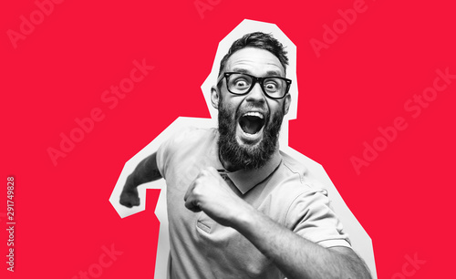 Photographie Crazy hipster guy emotions