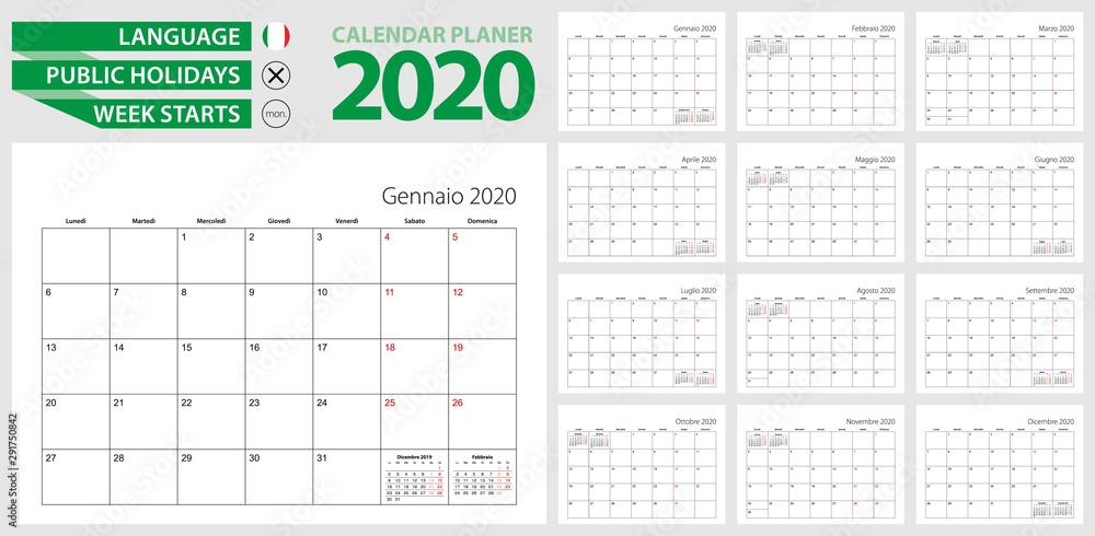 Fototapeta Italian calendar planner for 2020. Italian language, week starts from Monday. Vector calendar template for Italy, Switzerland, San Marino and other.