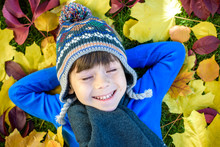 Little Kid Boy Lying In Autumn Leaves In Blue Pullover. Happy Child Having Fun In Autumn Park On Warm Day. Cute School Boy Smiling And Laughing.