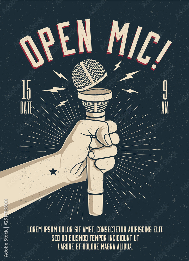 Open Microphone event party session poster flyer template. Vintage styled vector illustration.