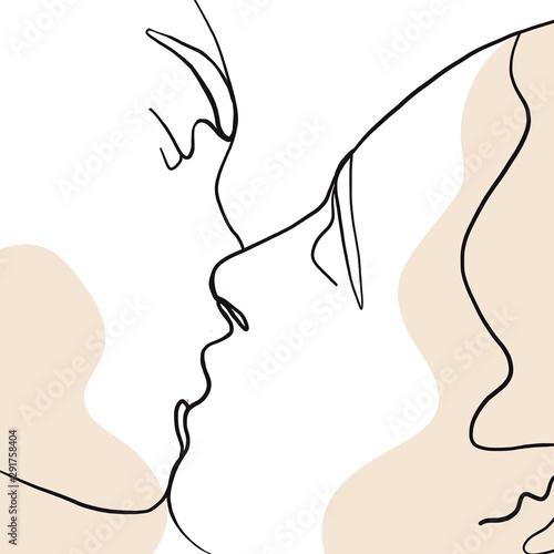 ciagla-linia-rysowanie-ustawionych-twarzy-mezczyzn-i-kobiet-w-pocalunku-koncepcja-mody-minimalistyczna-uroda-kobiety-ilustracja-wektorowa-na-koszulke-slogan-w-stylu-grafiki-do-druku-jedna-linia-ilustracji-mody