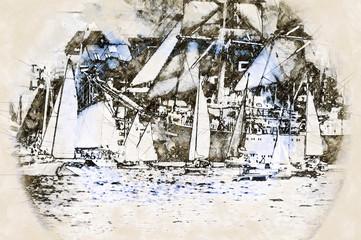 FototapetaDigital artistic Sketch of Sailing Ships