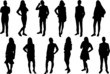 Silhouettes of young people. Girls and boys in full growth. Black silhouette on a white background, contour-2