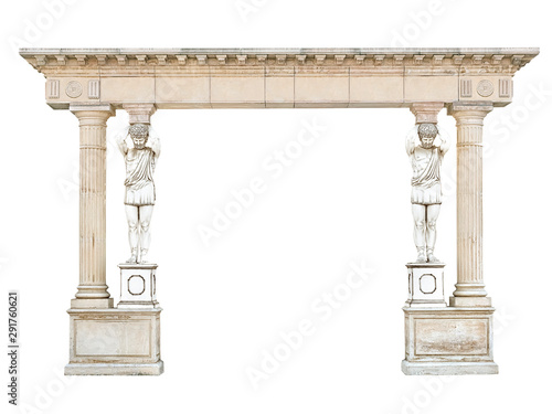Photo Antique stone arch with atlantes in the form of columns isolated
