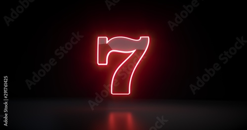 Papel de parede 777 Slot Sign With Futuristic Red Neon Lights Isolated On The Black Background -