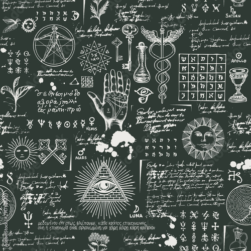 Türaufkleber Künstlich Vector seamless pattern on the theme of mysticism, magic, religion, occultism with various esoteric and masonic symbols. Repeatable background with sketches and blots. Drawing chalk on the blackboard