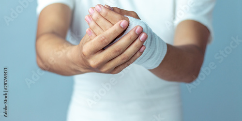 Fotografie, Obraz  Wounds at the arm,bandages a hand wound pain medicine
