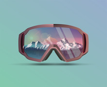 Snowboard Protective Mask With Mountains Landscape On Reflection. Mountain Sky Glasses. Snowboarding Goggles. Extreme Sport Vector Background.