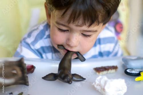 Fotografie, Tablou Enfant qui mange un jouet otarie