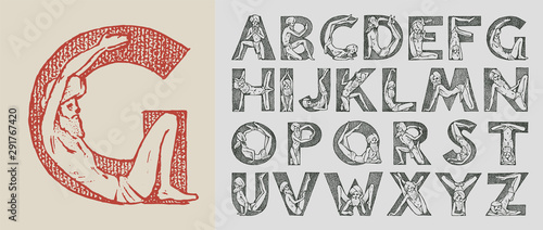 Stampa su Tela  Decorative alphabet in ancient style