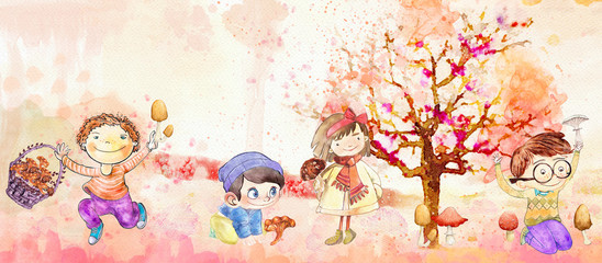 Autumn harvest. Watercolor banner for children.