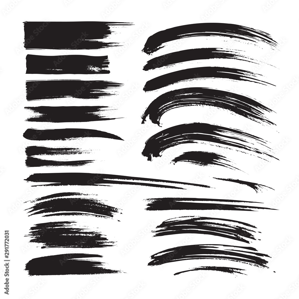 Fototapety, obrazy: Brush strokes ink black painting - creative set. Dirty artistic design elements. Vector illustration.
