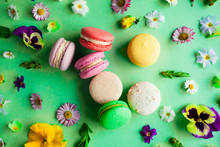Colorful Macaroons And Flowers...